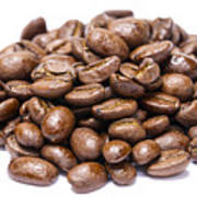 Pile Of Coffee Beans Isolated On White Poster