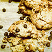 Pile Of Crumbled Chocolate Chip Cookies On Table Poster