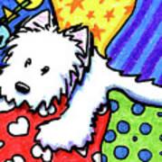 Pillow Pile Westie Poster