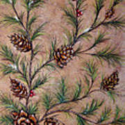 Pine Cones And Spruce Branches Poster by Nancy Mueller