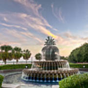 Pineapple Fountain Sunset - Charleston Sc Poster by Drew Castelhano
