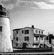 Piney Point Lighthouse - Mayland - Black And White Poster