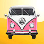 Pink And White Volkswagen T 1 Samba Bus On Yellow Poster by Serge Averbukh