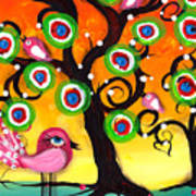 Pink Birds On A Tree Poster