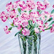 Pink Carnations In A Vase. For Sale Poster