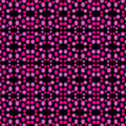 Pink Dots Pattern On Black Poster
