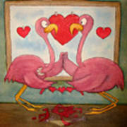 Pink Flamingo Couple In Love Let's Cut To The Chase Poster