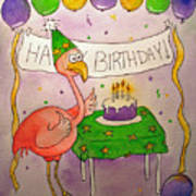 Pink Flamingo Happy Birthday Cake Watercolor Poster