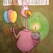 Pink Flamingo Happy Birthday Watercolor Cupcake  Poster