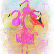Pink Flamingos In The Park Poster