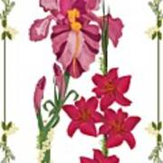 Pink Flowers With Willow Borders Poster