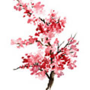 Cherry Blossom, Pink Gifts For Her, Sakura Giclee Fine Art Print, Flower Watercolor Painting Poster