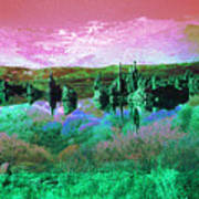 Pink Green Waterscape - Fantasy Artwork Poster