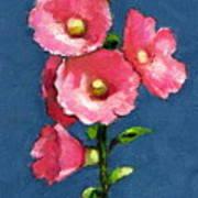 Pink Hollyhocks Poster