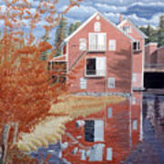 Pink House In Autumn Poster