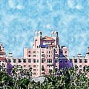 Pink Lady Don Cesar Watercolor Poster
