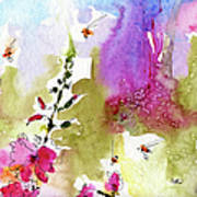 Pink Lavatera Floral Painting 1 Poster