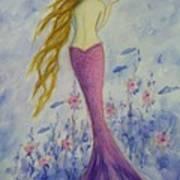 Pink Mermaid In Her Garden Poster