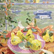 Pink Plate Of Pears Poster by Elizabeth Jane Lloyd