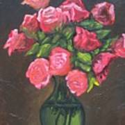 Pink Roses And Vase Poster