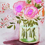 Pink Roses By Toni Poster