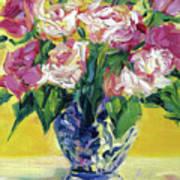 Pink Roses In Blue Deft Vase Poster