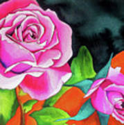 Pink Roses With Orange Poster