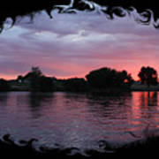 Pink Sunset Panorama With Black Framing Poster