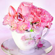 Pink Teacup Bouquet Poster