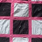 Pink White And Black Dot Quilt Poster by Brianna Emily Thompson
