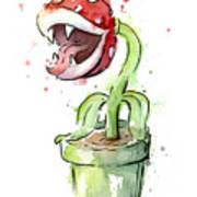 Piranha Plant Watercolor Poster