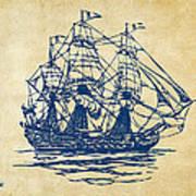 Pirate Ship Artwork - Vintage Poster by Nikki Marie Smith