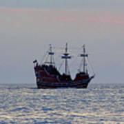 Pirate Ship At Sunset Poster