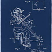 Pitch Fork Fiddle And Drum Patent 1936 - Blue Poster