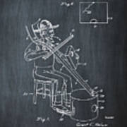 Pitch Fork Fiddle And Drum Patent 1936 - Chalk Poster