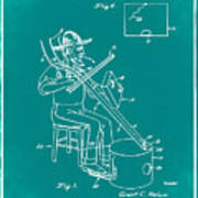 Pitch Fork Fiddle And Drum Patent 1936 - Green Poster