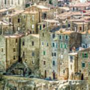 Pitigliano Houses Closeup Grosseto Tuscany Poster