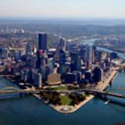 Pittsburgh Aerial Digital Painting Poster