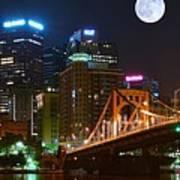 Pittsburgh Full Moon Panoramic Poster