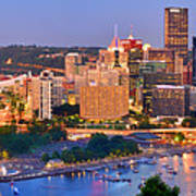 Pittsburgh Pennsylvania Skyline At Dusk Sunset Panorama Poster