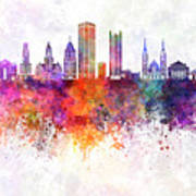 Pittsburgh V2 Skyline In Watercolor Background Poster