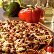 Pizza At Restaurant  Poster