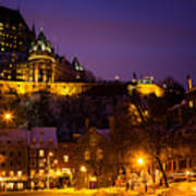 Place-royale At Twilight Quebec City Canada Poster