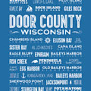 Places Of Door County On Blue Poster