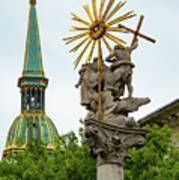 Plague Column And Saint Martin Cathedral Poster