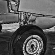 Plane - Landing Gear In Black And White Poster