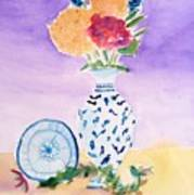 Plate And Flowers Poster