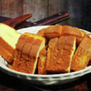 Plate With Sliced Bread And Knives Poster