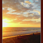 Playa Hermosa Puntarenas Costa Rica - Sunset A One Detail Two Vertical Poster Greeting Card Poster