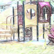 Playground Equipment Sketch Poster